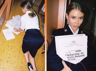 В Москве участковая устроила сестре откровенную фотосессию в отделе полиции.